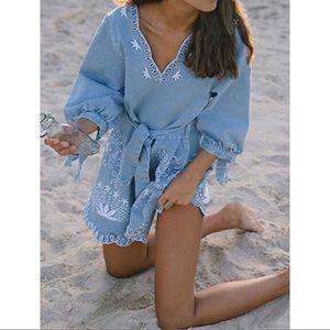 ✨New✨ Light blue embroidery dress